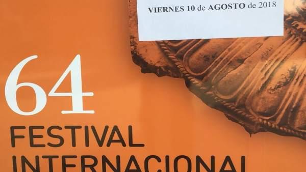 Cartel de 'No hay localidades' en el Festival de Mérida