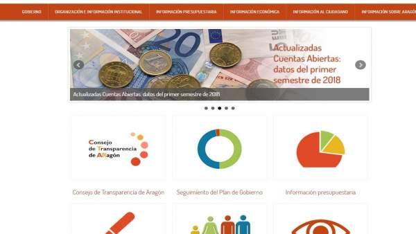 Portal de transparencia del Gobierno de Aragón.
