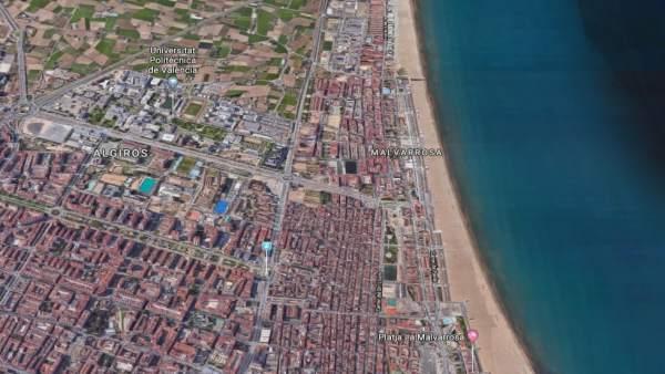 Localización de la playa de la Malvarrosa de València