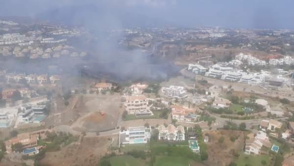 Vista del incendio en La Alquería