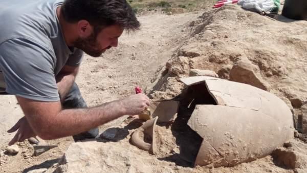 Excavación de un ánfora itálica para el transporte de aceite en Bursau.