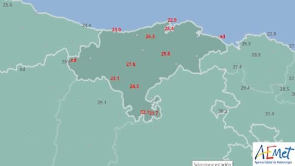 Máximas en Cantabria el 11 de agosto de 2018