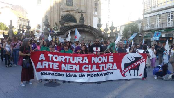 Manifestación antitaurina celebrada en Pontevedra