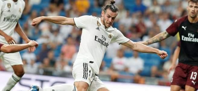 Gareth Bale, en el encuentro amistoso entre Real Madrid y Milan.
