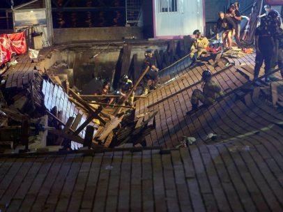 Desplome de una pasarela en Vigo