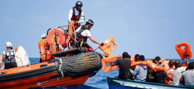 Rescate de migrantes en el Mediterráneo.