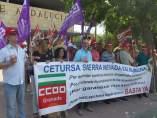 Concentración de representantes de trabajadores de Cetursa