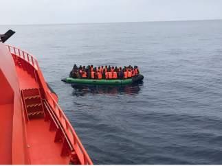 Patera rescatada en el Estrecho