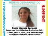 La menor desaparecida Rocío Vázquez Carrasco
