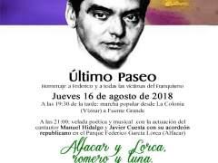 Cartel del acto conmemorativo del 'último paseo' de Federico