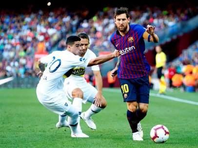 Messi, en el Trofeo Joan Gamper frente a Boca Juniors.