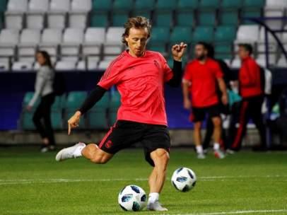 Luka Modric, en un entrenamiento con el Real Madrid.