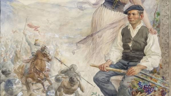 Boceto del cartel de Ciga que se incorpora al Museo de Navarra.