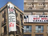 Dos pancartas contra Felipe VI en Barcelona