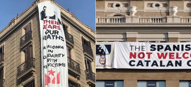 """Despliegan una pancarta contra Felipe VI en Barcelona: """"El rey de España no es bienvenido en los países catalanes"""""""
