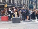 Ofrenda de familiares del atentado de la Rambla de Barcelona