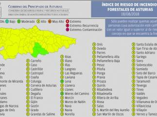Mapa incendios para 18 de agosto