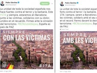 Sánchez rectifica e incorpora la bandera española a un tuit en catalán en el homenaje a los atentados del 17-A