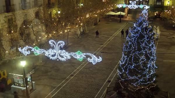 Foto de archivo de la iluminación navideña en Soria