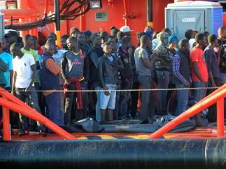 Llegada de inmigrantes al puerto de Algeciras (Cádiz)