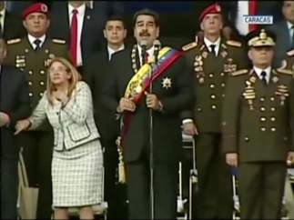 Maduro durante el ataque contra su persona