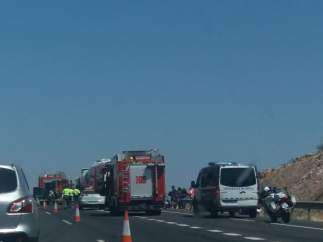 Accidente de tráfico en la A-66, a la altura de El Ronquillo