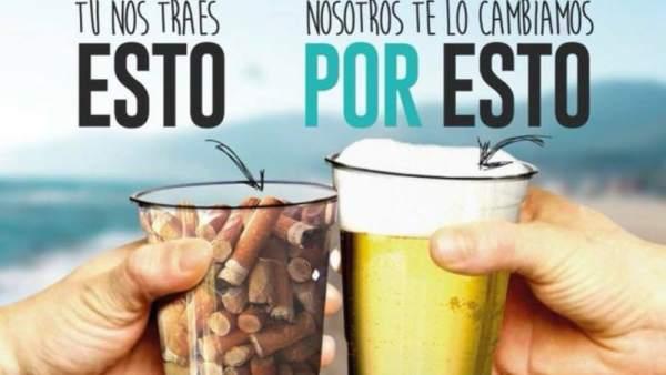 Cartel de la campaña de concienciación medioambiental de un chiringuito de Castelldefels