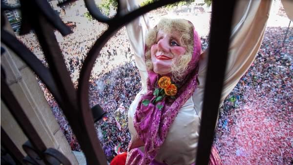 Marijaia durante el inicio de fiestas de Bilbao