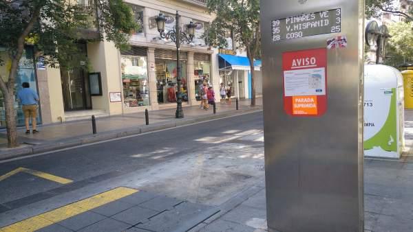 Parada de autobús en la calle Don Jaime I