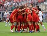 La Selección Española Sub 20 celebra el pase a la final del Mundial.