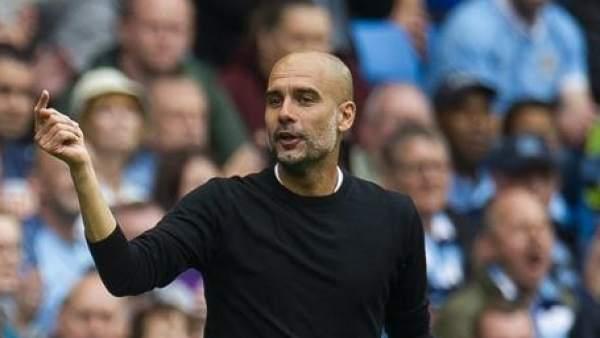 Pep Guardiola, en un partido de Premier League con el Manchester City.
