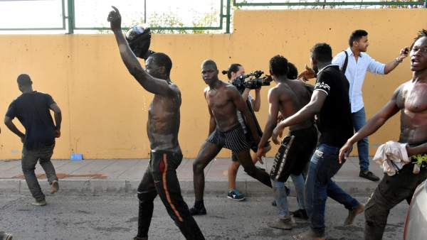 Migrantes llegados a Ceuta