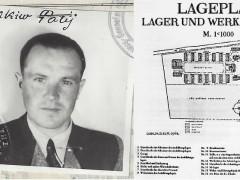 Imagen de la visa estadounidense de Jakiv Palij en 1949 junto al plano del campo de concentración para el que trabajó en Trawniki, Polonia