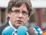 El expresidente catalán y líder de Junts per Catalunya (JxCat), Carles Puigdemont, ofrece unas declaraciones a la prensa tras su reunión con el presidente de la Generalitat, Quim Torra.