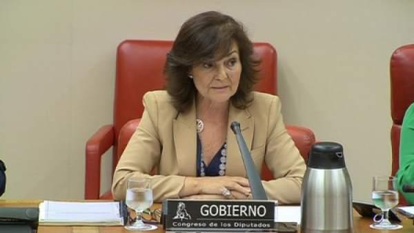 Carmen Calvo, en la comisión de seguimiento del pacto