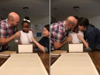 La reacción de una niña al saber que será adoptada