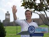 El presidente del PP, Pablo Casado, en un acto de partido en Ávila