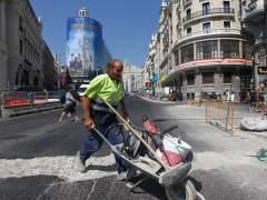 La Gran Vía de Madrid durante sus obras de remodelación