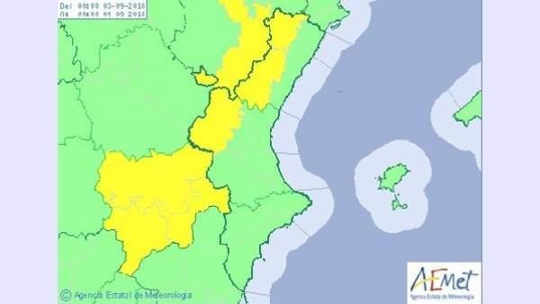 L'interior nord de València i Castelló estan en avís groc per pluges