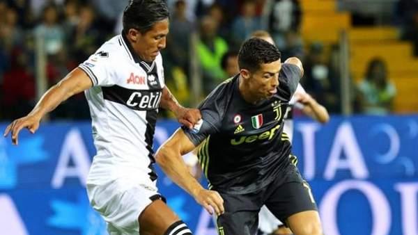 Cristiano Ronaldo, en el partido entre la Juventus y el Parma.