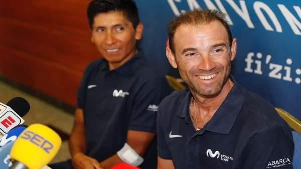 Alejandro Valverde y Nairo Quintana en rueda de prensa