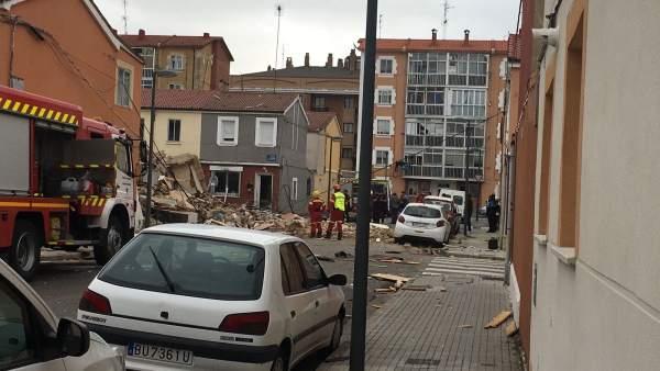 Imagen de la vivienda derruida tras la explosión. 5-9-2018