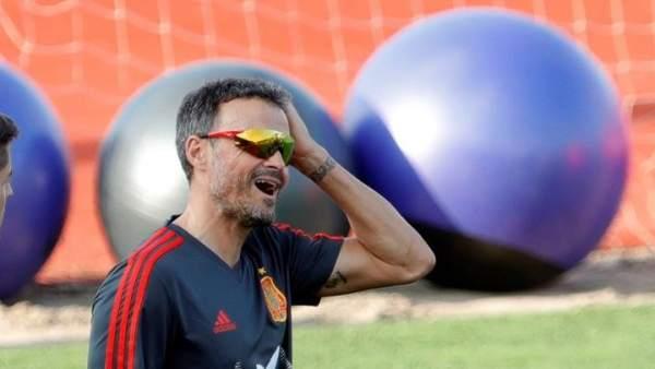 Luis Enrique, en un entrenamiento con la Selección española.