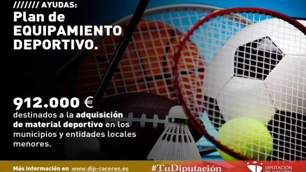 Cartel del plan de equipamiento de material deportivo de Diputación de Cáceres