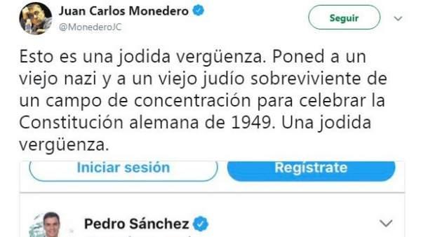 Mensaje de Juan Carlos Monedero a través de Twitter.