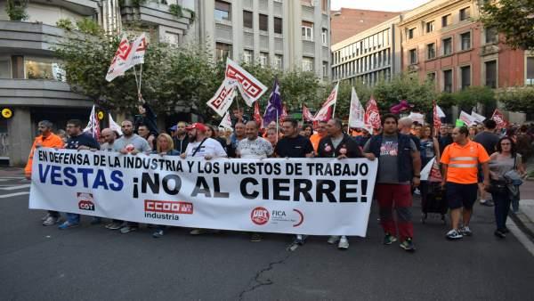 Manifestación contra el cierre de Vestas