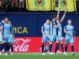 El Girona celebra un gol en campo del Villarreal.