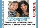 Ana María Linares Romero, 43 años, y su hija Alba Álvarez Linares, de 6 años, desaparecidas.