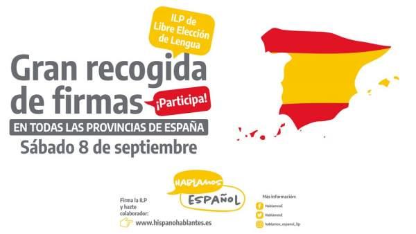 Recogida de firmas en defensa del uso del espaol el 8 de septiembre