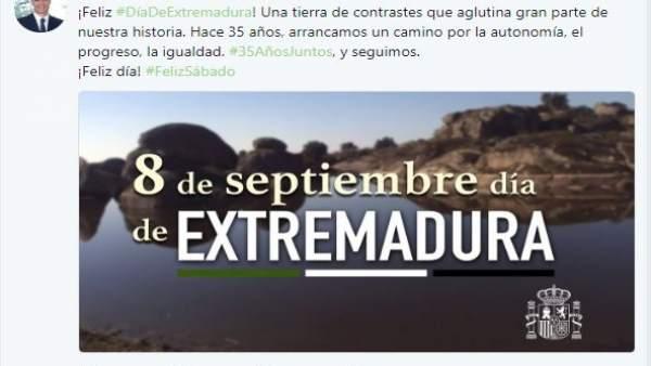 Mensaje de Pedro Sánchez por el Día de Extremadura